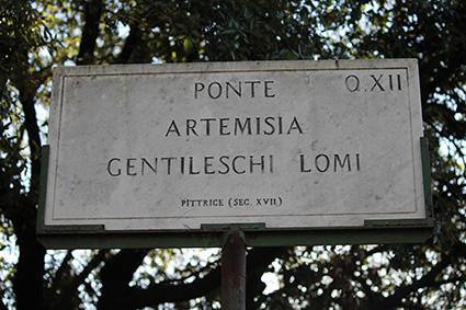 Ponte Artemisia Gentileschi. Roma, villa Pmphili