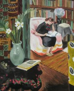 Donna che legge in un interno, di Vanessa Bell, pittrice ed autrice delle copertine dei libri di Virginia Woolf, sua sorella minore, per la Hogarth Press (1879-1961).