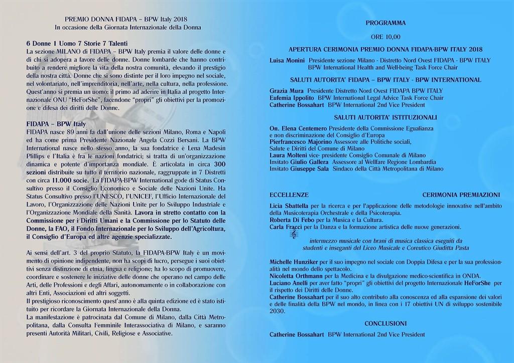 Premio Donna2018 Programma-21.2.18