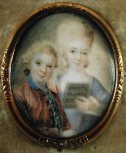 Wolfgang Amadeus Mozart (1756-91) and his sister Maria-Anna, called 'Nannerl' (1751-1829) (ivory) by Alphen, Eusebius Johann (1741-72) ivory Mozart Museum, Salzburg, Austria German, out of copyright