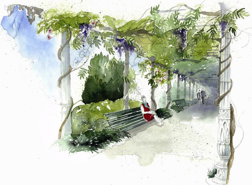 5-Anna Regge, acquerello 2017, Particolare del pergolato dei Giardini Reali, Venezia