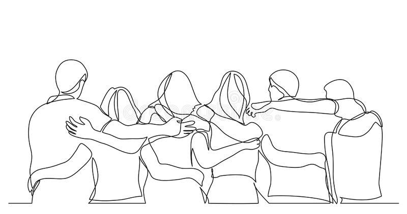 gruppo-di-uomini-e-donne-che-stanno-insieme-mostranti-la-loro-amicizia-un-disegno-tratteggio-137144687